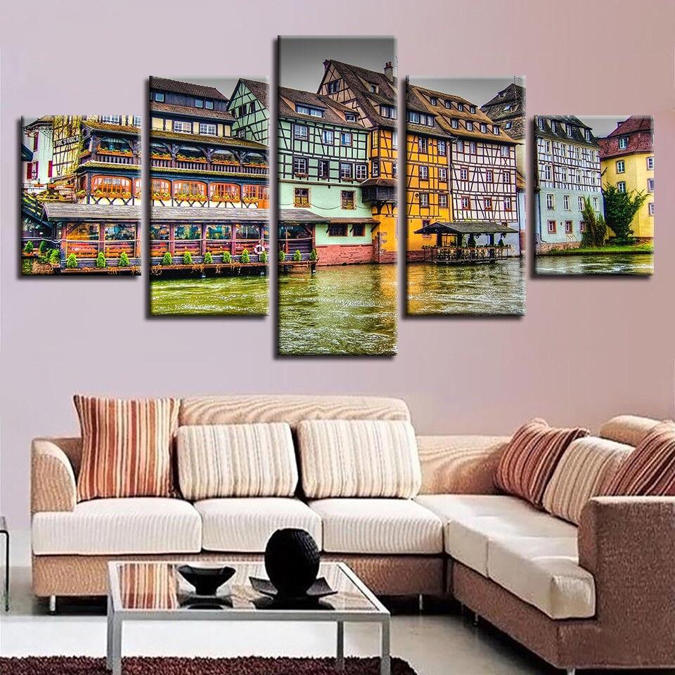 Retro House Riverside Town 5 Piece Canvas Print Wall Art
