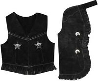 Kids Size Suede Leather Fringed Chaps & Vest Outfit Black Size Large (7-10)