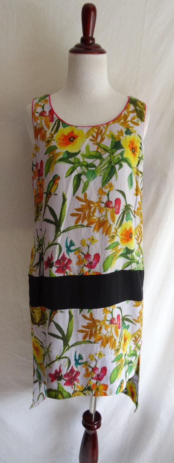 Anthropologie Corey Lynn Calter 6 Silk Tropical Flower Bird Shift Dress High Low