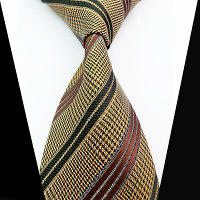 New Classic Brown Black Yellow Striped 100%Silk Jacquard Woven Necktie Men's Tie