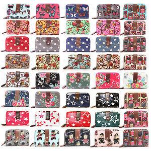 LADIES-DESIGNER-OILCLOTH-VINTAGE-OWL-FLOWER-POLKA-DOT-PURSE-WALLET-WITH-DUST-BAG