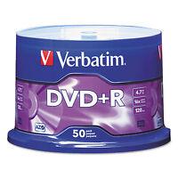 Verbatim Dvd+r Discs 4.7gb 16x Spindle Matte Silver 50/pack 95037 on sale