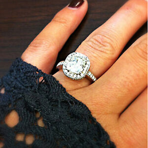 1.60 Ct Cushion Solitaire Moissanite Engagement Ring 14K Solid White Gold Size 6