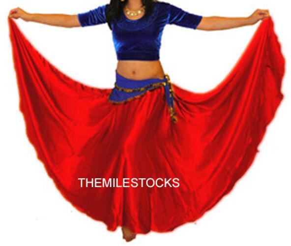 TMS Multi Satin Skirt Belly Dance TRIBALGypsy Costume Half Circle Jupe Robe Club