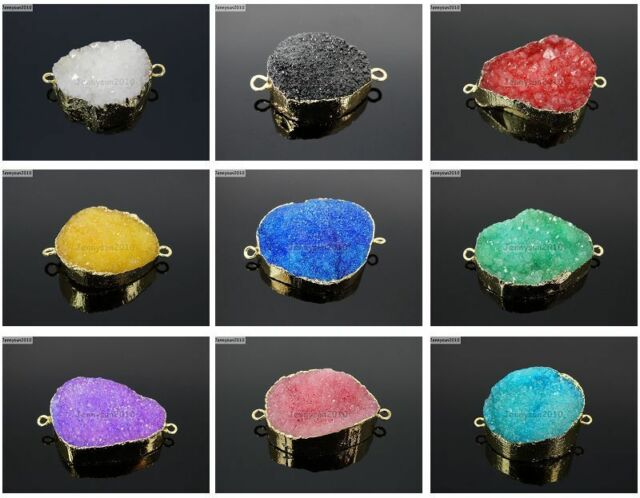 Natural Druzy Quartz Agate Bracelet Necklace Connector Healing Charm Beads Gold