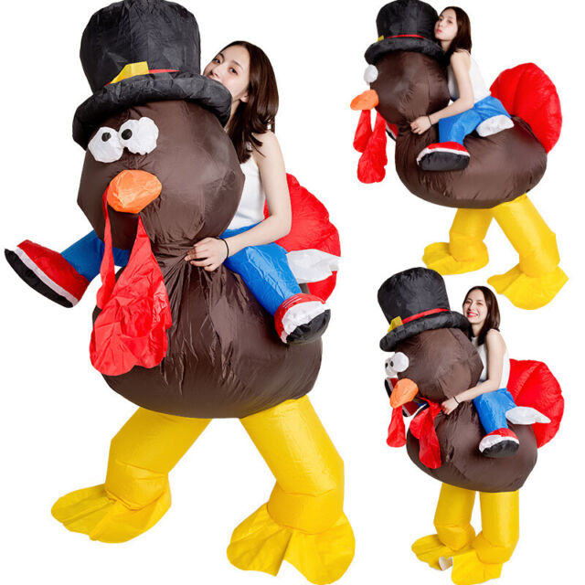 Adults Turkey Inflatable Costume Blow Up Christmas Halloween Dress Suit N0A1