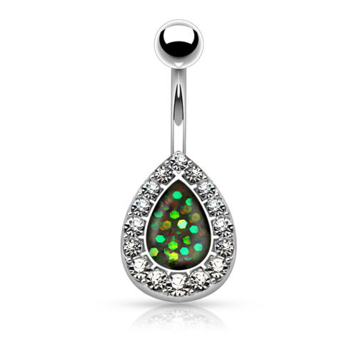 Opal Glitter Center CZ Tear Drop Surgical Steel Navel Belly Button Ring 14g 3//8/""