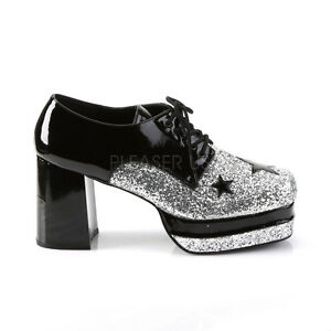aa3d476308e1 Silver Black Pimp 70s Disco 80s Rock Star KISS Tribute Band Platform ...