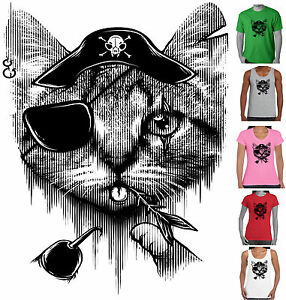 cb300054 Funny T-Shirts Cat Pirate Designs jolly roger Men's ladies Size ...