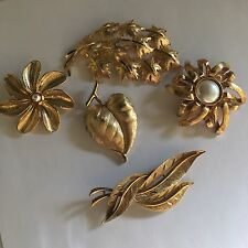 Lot Of 5 Vintage Brooches Pins JJ Trifari Gerry's Monet Mamselle