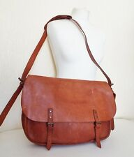 MARKS & SPENCER Tan Brown Raw Leather Satchel Messenger LAPTOP Bag /Over Sized