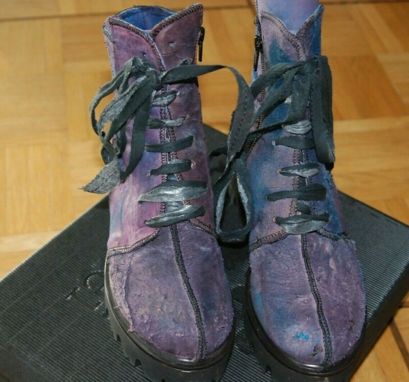 Papucei Leder Stiefelette Purple In Lila/ Bleu Gr. 38 Neu! Exquisite (In) Verarbeitung
