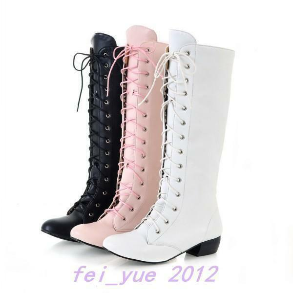 Women's Block Mid Heel Knee High Boots Lace Up shoes US All Size Fashion Strappy