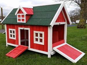 CHICKEN-COOP-RUN-HEN-HOUSE-POULTRY-ARK-HOME-NEST-BOX-COOPS-RABBIT-HUTCH-RED