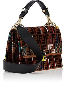 cd4cee712810 Image is loading Fendi-Kan-I-Embroidered-Leather-Shoulder-Bag-Tobacco