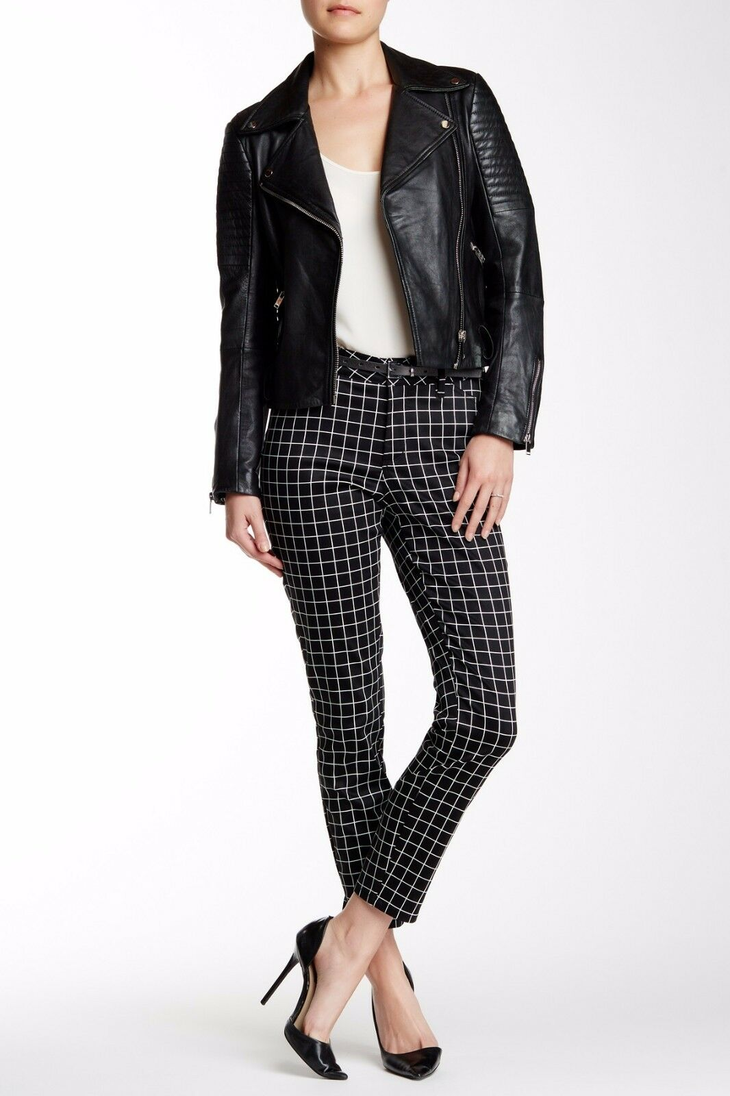 NEW Not Your Daughter's  130 NYDJ Clarissa Skinny Ankle Grid Print Pants SZ 10