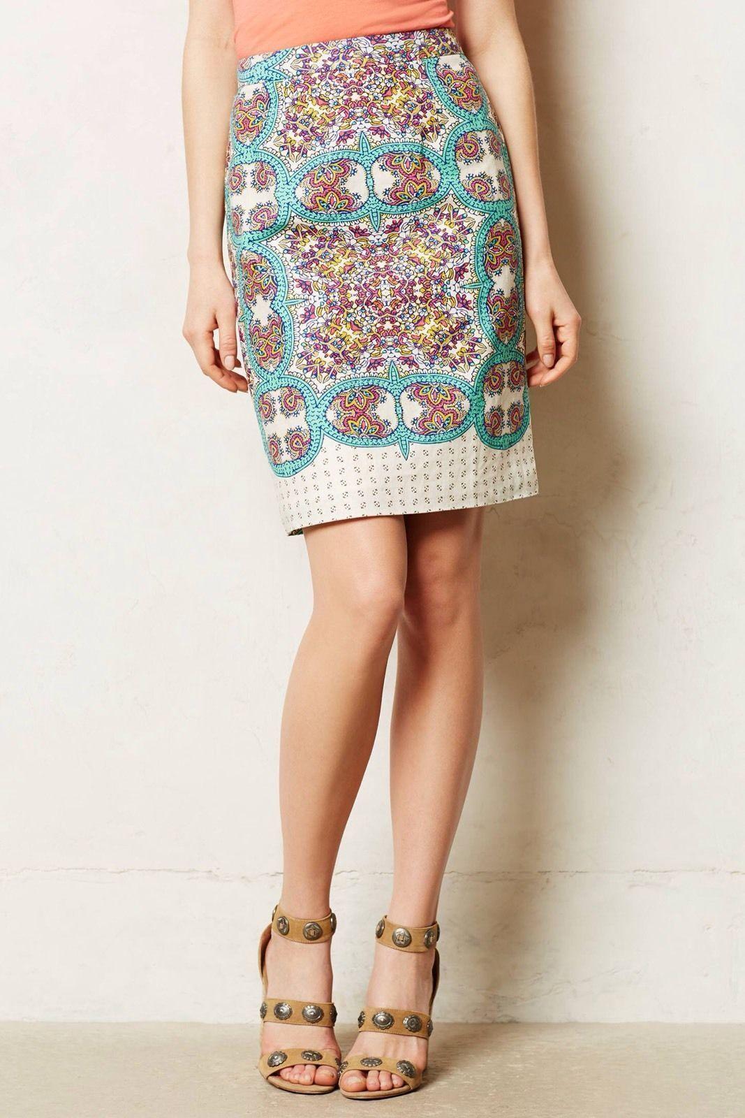 Anthropologie Maeve Manolya Linen Pencil Skirt 8 NWT