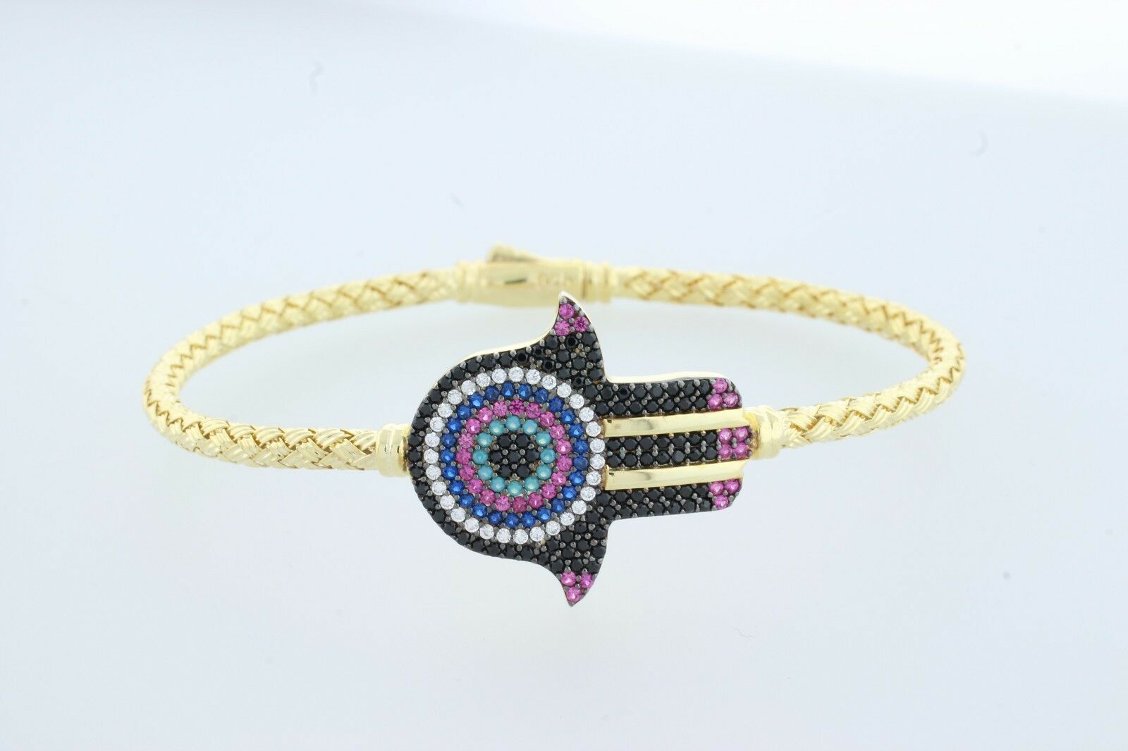 EVIL EYE HAMSA COLOR BRACELET PLATED WITH gold LARGE EVIL EYE HAND RAINBOW