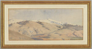 C-T-Framed-Early-20th-Century-Watercolour-Mountain-Landscape