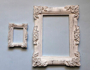 Set-of-2-Decorative-Frame-White-Patina-Classic-Style-Worldwide-Delivery
