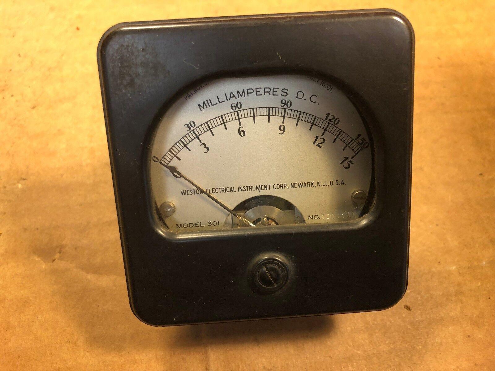 Antique Weston Model 301 DC MilliAmperes Meter Measures 0-150 mA 1900s Gauge