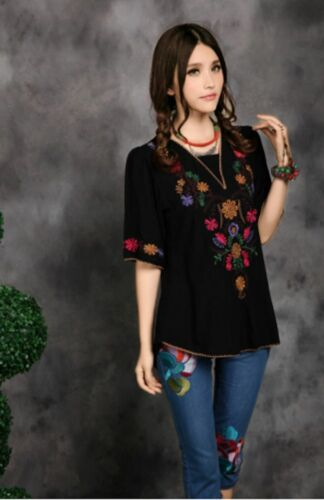70s Ethnic Floral Embroidered Cotton Blouse Top Hippy Boho Indian Peasant Travel