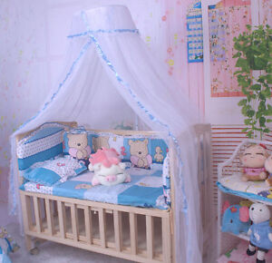Baby crib dome mosquito netting nursery boys girls lace for Drape stand for crib