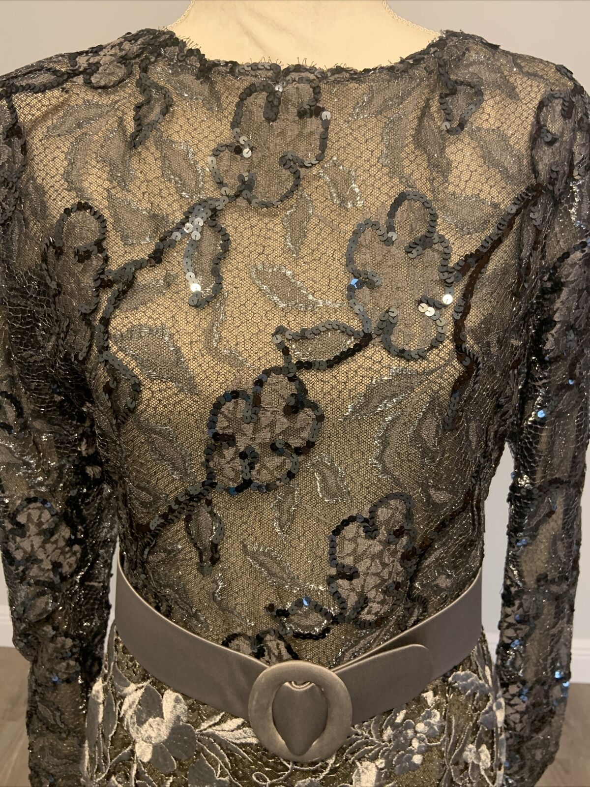 Arnold Scaasi Vintage Couture Silver Lace Dress w… - image 9