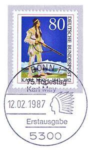 Rfa 1987: Karl May + Genre Chausses De Cuir! Nº 1314 Avec Bonner Ersttags-cachet Spécial! 1802-rstempel! 1802fr-fr Afficher Le Titre D'origine
