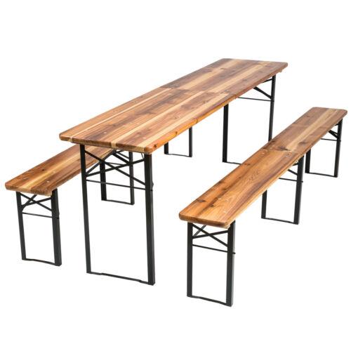 Meuble de jardin ensemble de 3 pièces de fête table et bancs bois pliabl 219 cm