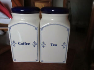 Vintage-White-Porcelain-Canisters-Blue-trim-amp-Lettering-Tea-Coffee-Canisters-8-034-T