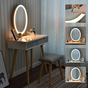 Schminktisch-Frisiertisch-Kosmetiktisch-Kommode-Mit-Hocker-Beleuchtung-Spiegel