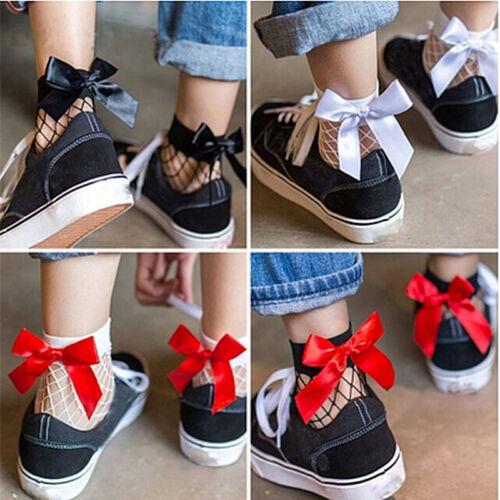Women Ruffle Bow Fishnet Ankle High Socks Mesh Lace Fish Net Short Socks HGUK