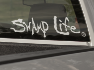 Swamp Life Text vinyl decal trademarked sticker for cars boats etc. trucks