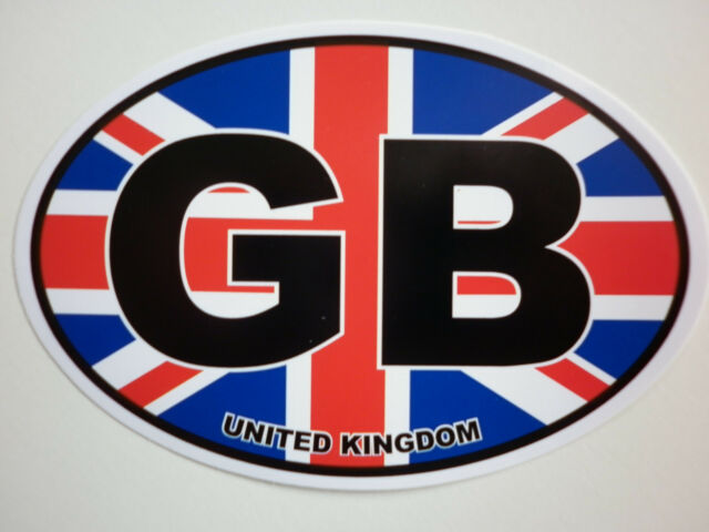 Window & Bumper Sticker - GB Union Jack Oval Car Sticker.