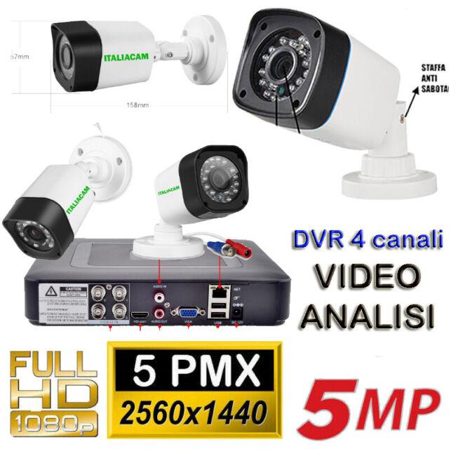 Kit Videosorveglianza 4 Telecamere CCD SONY 5MPX + DVR  5MPX VIDEO ANALISI + HD