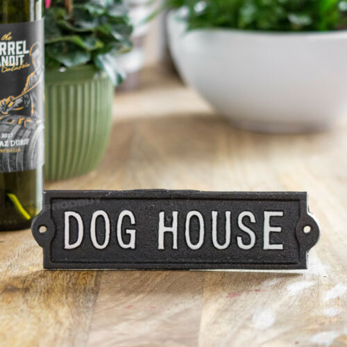 Details about  /Vintage Cast Iron Dog House Kennel Wall Sign Outdoor Garden Shed Garage Plaque
