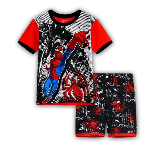2PCS Toddler Kids Boy Marvel Superhero Spiderman Pajama Set Sleepwear Shirt Tops