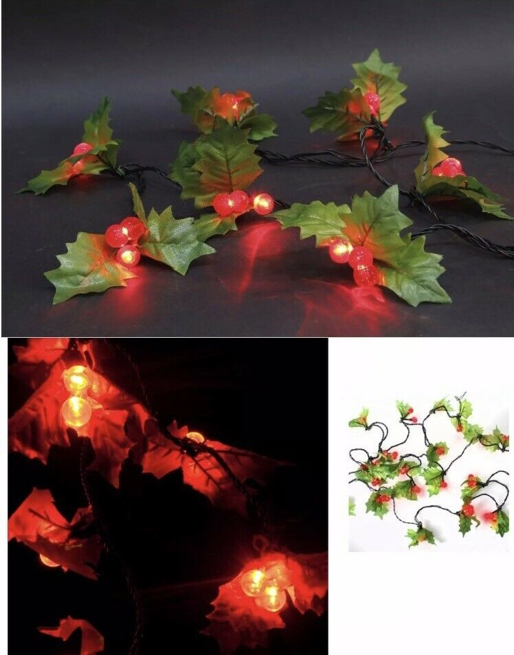 60 LED Holly Berry rot Grün LED Indoor Outdoor Xmas Lights Static Function