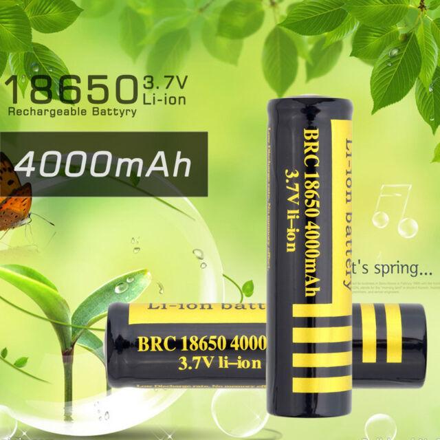 2PCS 18650 4000mAh 3.7V Rechargeable Li-ion Battery For Flashlight ZM