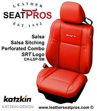 Leather Seat Covers 2015 2021 Dodge Challenger Salsa Red White Perfed Srt Logo