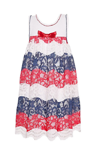 Bonnie Jean Big Girls Americana 4th of July Red White Blue Lace Dress 7-16 new