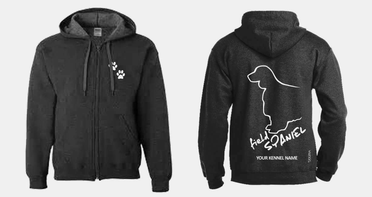 Field Spaniel Spaniel Spaniel Full Zipped Dog Breed Hoodie, Exclusive Dogeria Design, ebe0bb