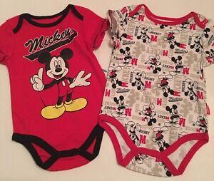 9dab04a3f Disney Mickey Mouse Baby Boy 2 Bodysuits Size 3 6 9 Months Layette ...