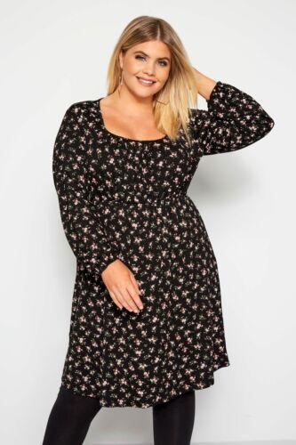 Yours Clothing Damen Übergröße Schwarz Blumenmuster Milchmädchen Kleid