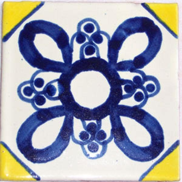 C126- Mexican Handmade Talavera Clay Tile Folk Art 4x4