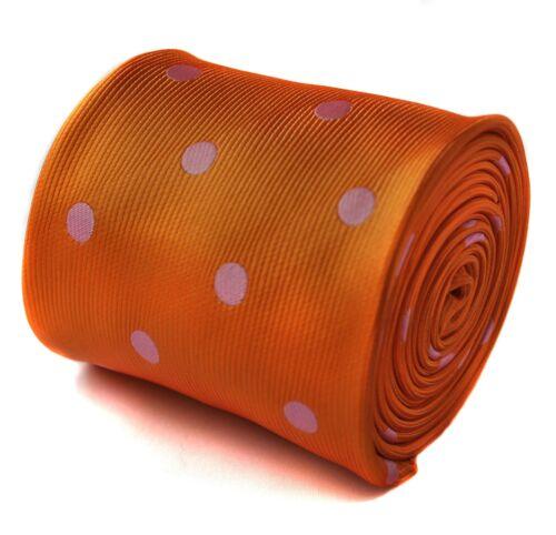 Dark Burnt Orange Frederick Thomas Designer Mens Tie Dusky Pink Polka Dot