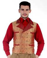 Men's Steampunk Red Gold Edwardian Vampire Waistcoat Vest Larp Cosplay Con Fest