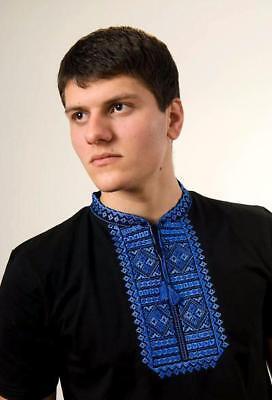 "Ukrainian Men/'s short sleeve shirt with blue embroidery /""Cossack cross/"""