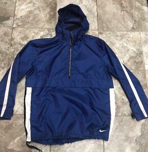 detailing eb605 8b58a Details about Vintage Nike Pullover Windbreaker Blue White Half Zip Medium